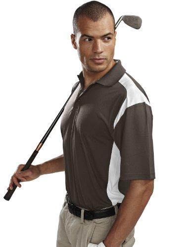 Tri Mountain Mens Blitz Wicking Golf Shirt  2Xl  Brown White