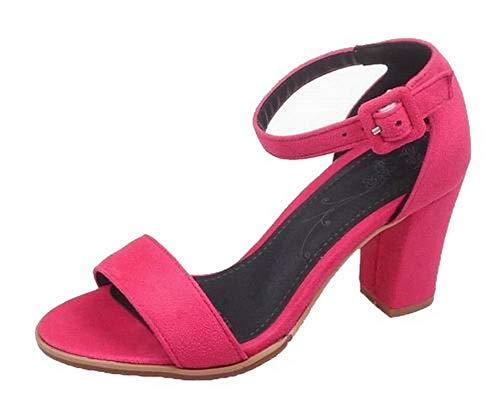 Tsmlh007807 Aalardom con High Women rosa Heel Solid con fibbia sandali 4HHWfvr