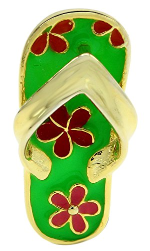 AFFY Jewelry Multi Color Enamel Hawaiian Slipper Pendant in 14k Yellow Gold Over Sterling Silver