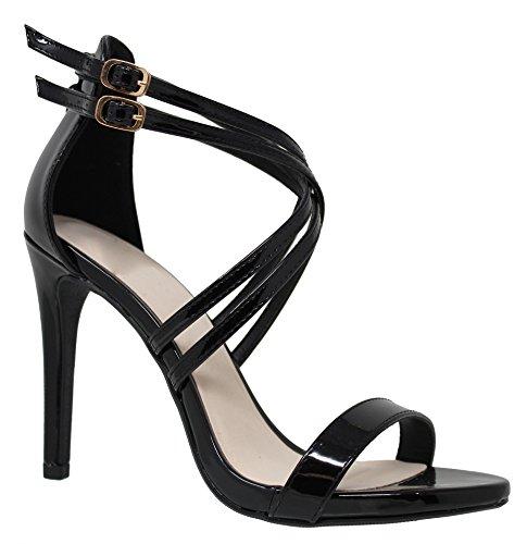 MVE Shoes Women's Strappy Open Toe Doble Buckle Pumps-Shoe, Black Pat Size 10