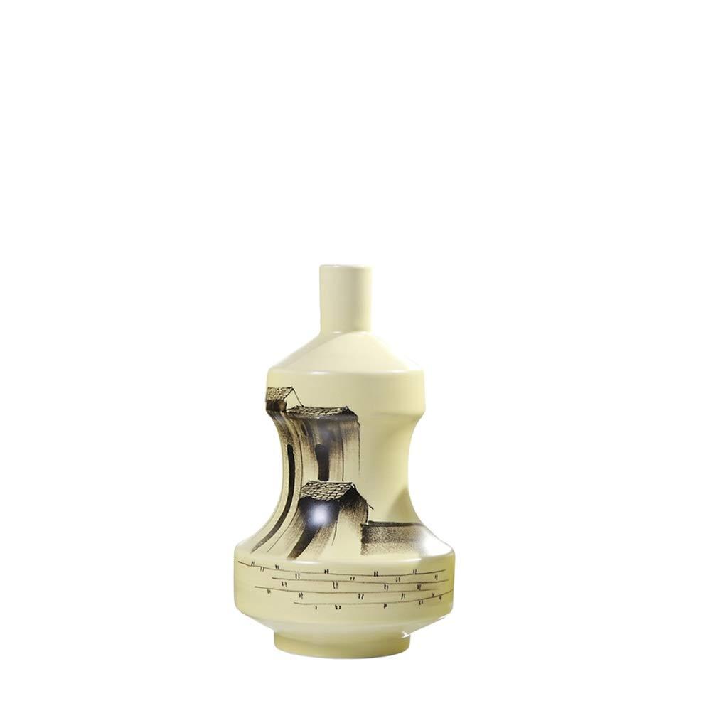 MAHONGQING 花瓶中国セラミック花瓶装飾禅ワインキャビネットテレビキャビネットリビングルームホームソフト装飾 (Size : M) B07S18D6JL  Medium