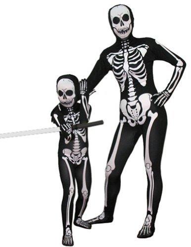 AltSkin Unisex Full Body Spandex/Lycra Suit, Skeleton, Kids L