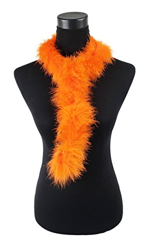 Bruceriver Womens Ostrich Fur Scarf with Loop on both Side Colour Orange