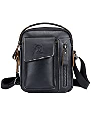 Genda 2Archer Men's Leather Small Shoulder Crossbody Messenger Bag Briefcase One_Size Black