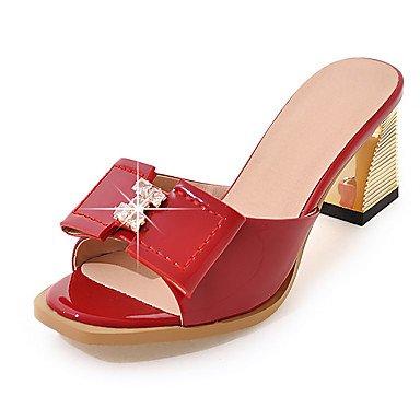 LvYuan Mujer-Tacón Robusto-Zapatos del club-Sandalias-Boda Vestido Fiesta y Noche-Cuero Patentado-Negro Rojo Blanco Gris Melocotón Black