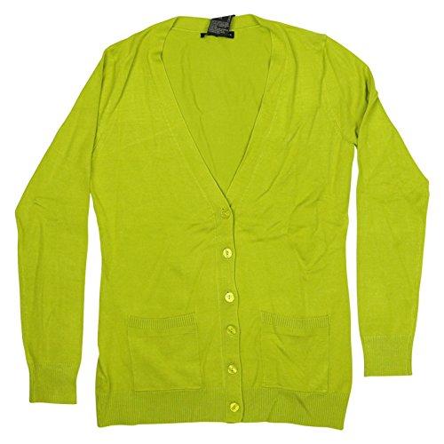 Grace Elements Womens Long Sleeve V-Neck Cardigan Small Digital Green