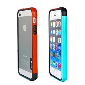 YXF Fashion Double Color TPU Frame Bumper for iPhone5S(Orange+Blue)