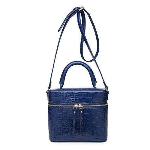 3.75' Blue Leather - Urban Expressions Rogue Croc Crossbody, Handbag,Vegan Leather,Assorted Colors