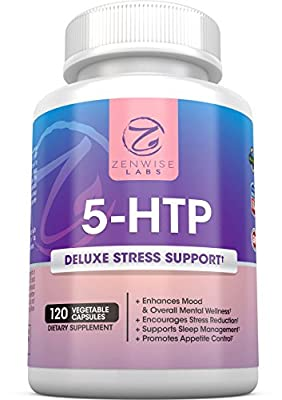 5-HTP - 100 MG With Vitamin B6 - Stress Relief Support & Mood Control - All Natural Appetite Suppressant for Weight Loss - Sleep Aid Supplement & Brain Booster - 120 Vegetarian Capsules