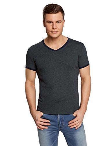 shirt Col Gris En Finition Oodji Contrastante Ultra Homme T Avec 2579b V vX7qnOtnwI