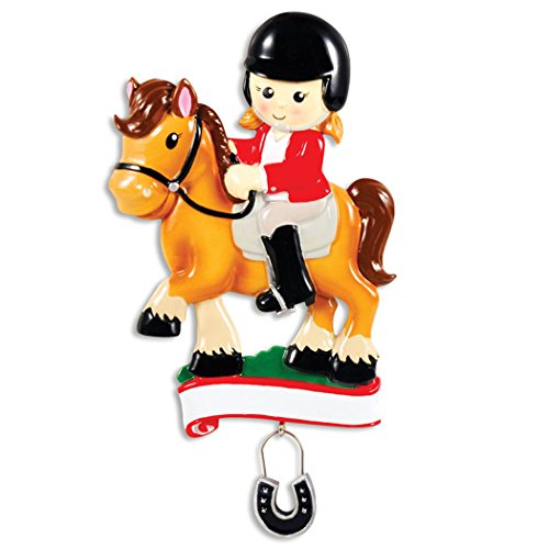 Personalized Horse Rider Christmas Tree Ornament 2019 - Equestrian Girl Riding Horseshoe Dangle Blonde Brunette Horsewoman Jockey Lesson Race Horseback Sports Activity Gift Year - Free Customization (Horse Tree Ornaments)