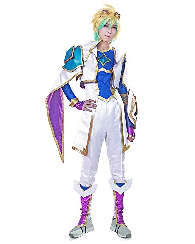Miccostumes Men's Ezreal Cosplay Costume (MM) White and Blue]()