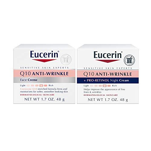 Eucerin Q10 Anti Wrinkle Day Face Cream + Night Cream | 1.7 Oz (2 Pack)