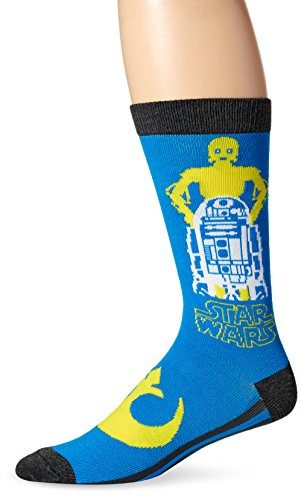 Star Wars Men's Crew Sock Single, Blue, Sock Size: 10-13/Shoe Size:9-11