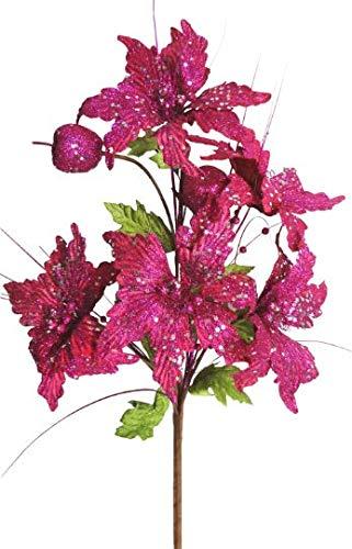 V-Max Floral Decor - Arbusto navideño con Purpurina (5 Unidades, 88,9 cm), Color Fucsia
