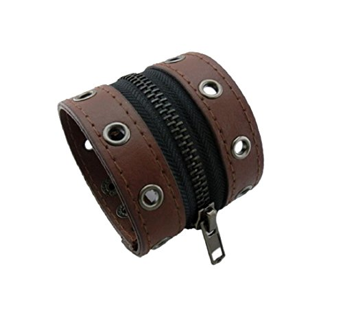 Yuriao Jewelry Fashion Cool Unique Punk Retro Brown Leather Cuff (Thor Girl Costume Homemade)