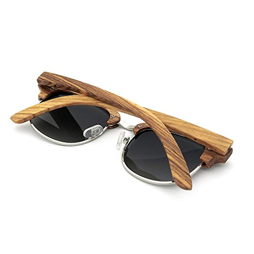 cebra protección UV400 hechas fines al para unisex coloreada mano estilo semi de gafas madera Adecuado y adulto uso sol a Zebra Personalidad para sin rebordear múltiples aire diario Marrón lente De libre de HRwqP7