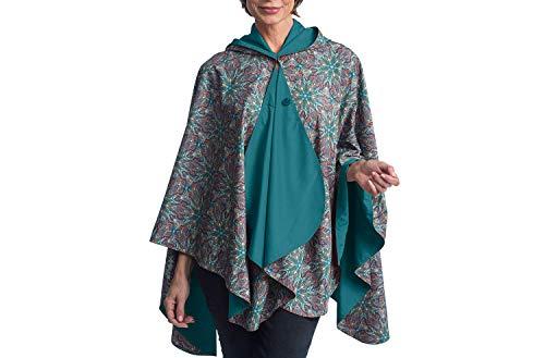 RainCaper Rain Poncho for Women - Reversible Rainproof Hooded Cape in Gorgeous Ultrasoft Colors (Jade & Kaleidoscope) ()