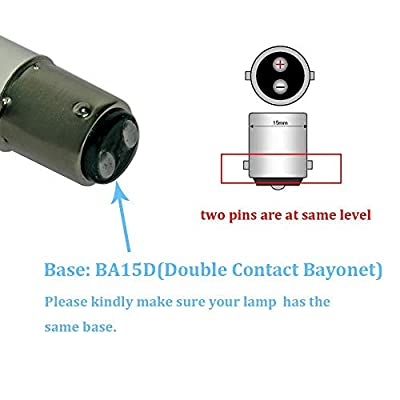 Makergroup 1076 1142 1004 90 LED Light Bulbs BA15D Double Contact Bayonet Base for Marine Navigation Anchor Stern Lights RV Camper Trailer Motorhome 10-40VDC 2W Cool White 2-Pack: Automotive