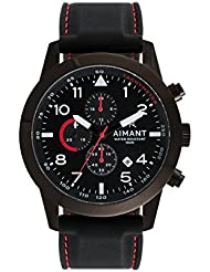AIMANT Mens Berlin Black with Black with Red Stitches Silicone Strap Watch GBE-190SI1-11