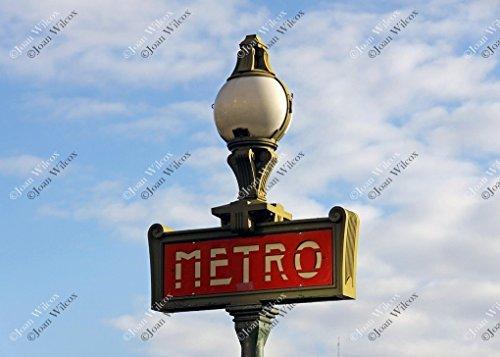Daytime Paris France Metro Subway Train Transportation Sign Original Fine Art Photography Wall Art Photo Print (Sign Paris Subway)
