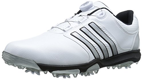 Cleated Shoes (adidas Men's Tour360 X Boa Golf Cleated Shoe, Running White/Silver Metallic/Core Black, 12 M US)