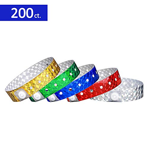 (Ouchan Multicolor Holographic Wristbands Variety Pack- 200 Pack Vinyl Wristbands for Parties Events)