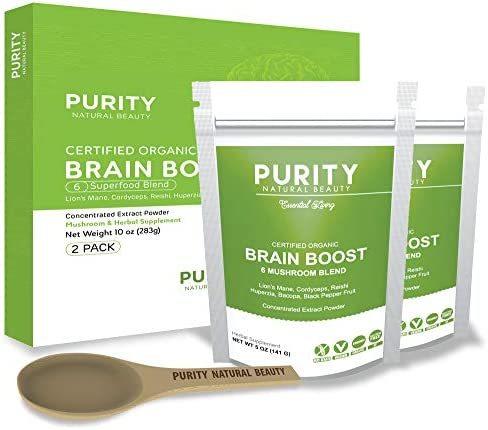 Brain Booster Nootropic Powder Supplement 2 Pack 220 Servings – Lions Mane, Cordyceps Mushroom, Bacopa Monnieri, Huperzia Serrata, and Reishi Mushroom Blend