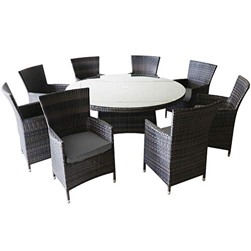 Thinkga 8 Seater Outdoor Patio Dinning Table Set Brown Patio Garden Furniture, Gray 8 Seat and 1 Round - Table 8 Seater