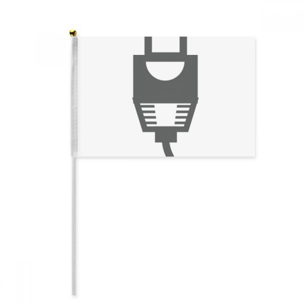 Black Charging Cable Plug Cable Pattern Hand Waving Flag 8x5 inch Polyester Sport Event Procession Parade 4pcs