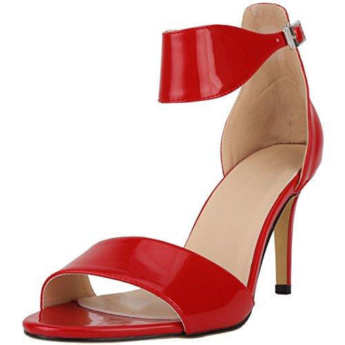 Sexy Moyen Talon Mariage Rouge Bout Chaussure Boucle Soirée Femme Cuir Elégant Sandales Escarpins Cheville Bride Vernis Ouvert wealsex IXwC4C