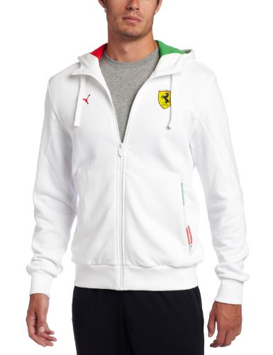 (PUMA Men's Scuderia Ferrari Hooded Sweat Jacket, White, X-Large)