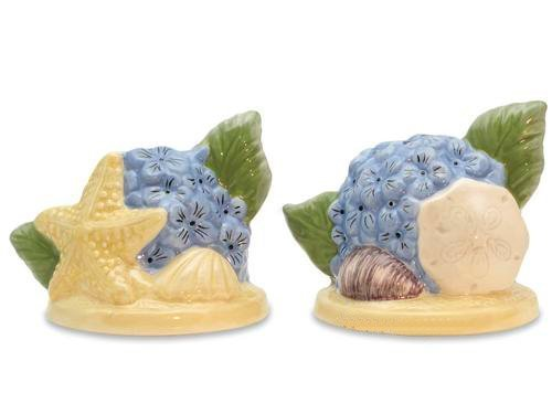 Hydrangeas Starfish and Seashell Salt and Pepper Shakers