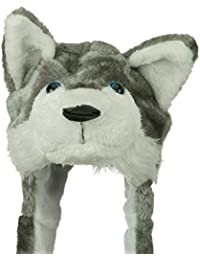 Plush Faux Fur Animal Critter Hat Cap - Soft Warm Winter Headwear - Short with Ear Poms and Flaps & Long with Scarf and Mittens available (Wolf Grey - Short)
