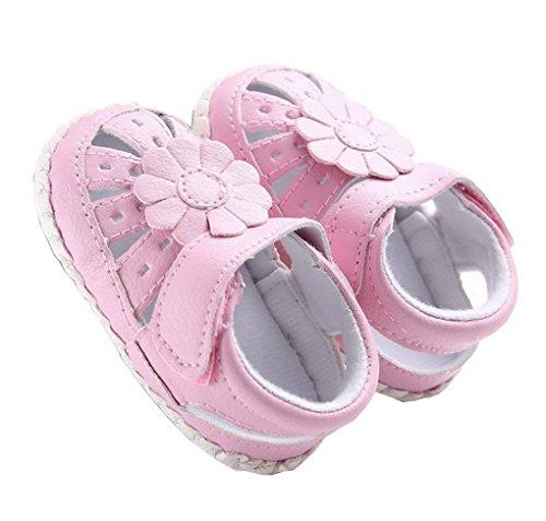 ACMEDE Kleinkind Mädchen Lauflernschuhe Sonnenblumen Sandalen beleuchtete Prinzessin Schuhe mit weichen Sohlen Rosa
