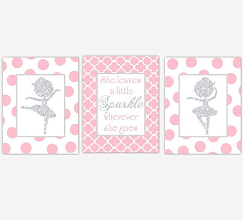(Ballerina Girl Nursery Wall Art Pink Silver Prints She Leaves a Little Sparkle Stars Silhouette Dance Ballet Dancer Baby Nursery Decor SET OF 3 UNFRAMED PRINTS)