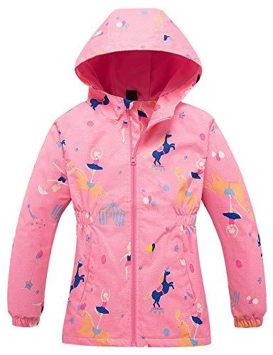 Echinodon Meisjesjas met fleecevoering, warm, waterafstotend, winddicht, ademend, kinderregenjas, overgangsjas…