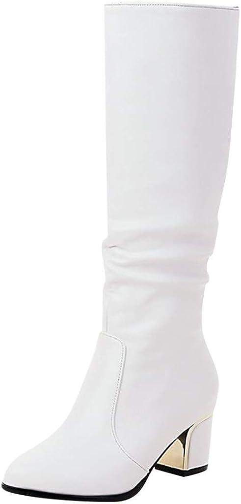 Baohooya Botas Altas para Mujer Tacon - Moda Puntiaguda Tacón Grueso Botas de Jinete de Tacón Alto Cuero de Color Liso Botines para Mujer Botas de Mujer Zapatos OtoñO/Invierno 2019