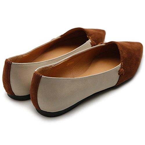 Ollio Mujeres Ballet Shoe Confort Faux Suede Dos Tonos Multi Color Flat Brown