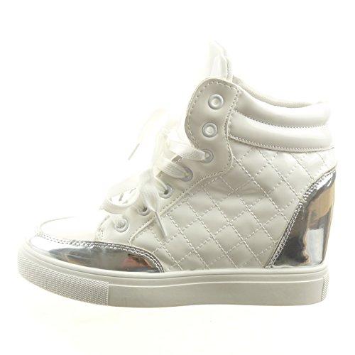 Sopily - damen Mode Schuhe Hohe gesteppt schuhe glänzende Patent - Weiß