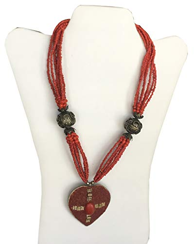 Fine Art Elegant Multi Strand Necklace Red Beads & Gemstone Metal Art - Comes With Gift Box