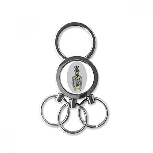 Yellow Glasses Zebra Grey Popular Animal Metal Key Chain Ring Car Keychain Trinket Keyring Novelty Item Best Charm Gift ()