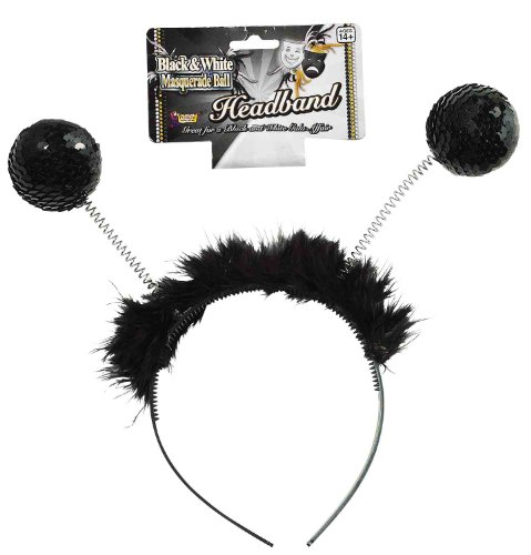 [Forum Novelties Sequin Furry Black Antenna Bopper Masquerade Ball Costume Headband] (Bobble Head Halloween Costume)