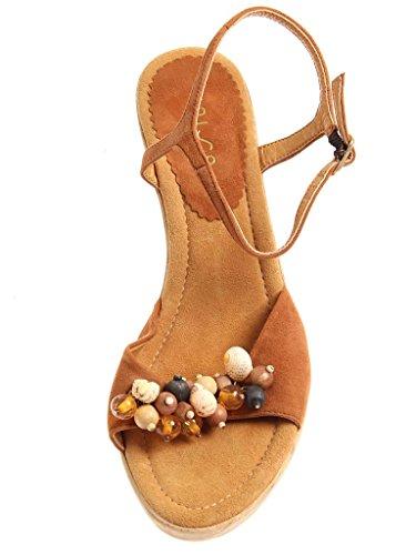 Unisa Sandalette aus Leder Sommerschuhe Damenschuhe Wildleder 2963 Braun