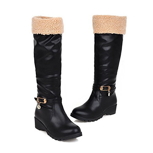 AmoonyFashion Womens Round Closed Toe Kitten-Heels Soft Material High-Top Solid Boots Black umtm5