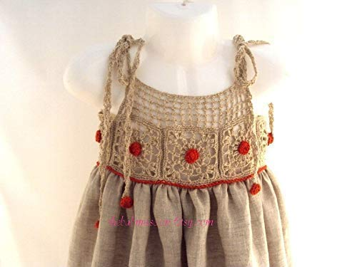 newborn-2T wedding baby, linen baby dress, dress with red, red and grey dress girl baby (Sew Princess Dress)