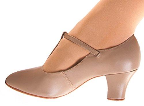 "Zodat Danca Ch40 T-strap Karakter Shoe With 2"" Hiel Caramel"