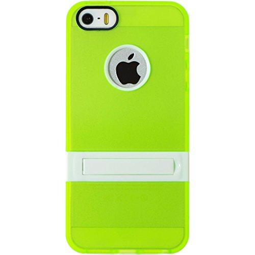 PhoneNatic Case für Apple iPhone 5 / 5s / SE Hülle Silikon grün Aufstellbar Cover iPhone 5 / 5s / SE Tasche + 2 Schutzfolien