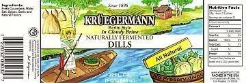 Kruegermann Get 2 (32 fl.oz.) Jars of Dill Pickles Naturally Fermented In Cloudy Brine (64 floz total)