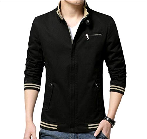 Zips Mogogo Slim Plus with Basic Mens Black Leisure Casual Fit Size Jackets waXBaHq